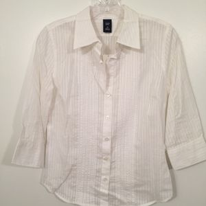NWT Gap Women White Sheer Stripe 3/4 Sleeve Shirt
